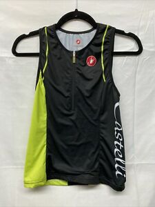 Castelli 1/2-Zip Sleeveless Cycling Jersey Black Neon Yellow Womens Medium