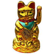 4.5inch Feng Shui Fortune Gold Ingot Lucky Wealth Waving Cat by AA Battery O2U8