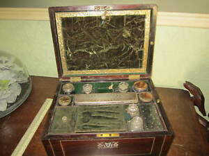 An old Victorian fitted box with Mother Of Pearl inlay