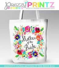 PERSONALISED FLORAL WREATH WEDDING MOTHER OF THE BRIDE TOTE SHOPPING BAG  GIFT