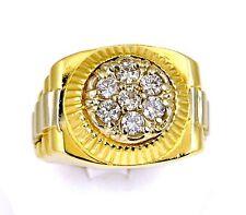 14k Gold SI1 H-I 1.00ct Round Brilliant Cut Diamond Rolex Link Ring Sz 12.5