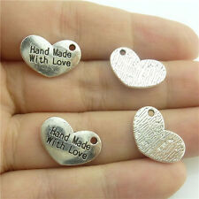 """89659 50X """"Hand Made with Love"""" Letter Pendant Vintage Silver Alloy Heart Sister"""