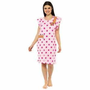NEW Ladies 100% Cotton Jersey Spots & Dog Ruffle Sleeve Nightdress
