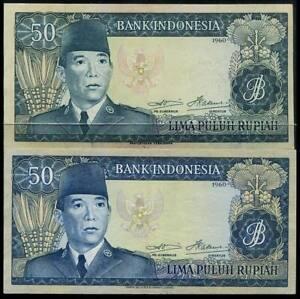 Indonesia Sukarno  Issue 50 Rupiah x2 Banknotes wmk/.Bufflalo & Sukarn 1960