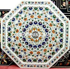 36'' Marble Dinning Table Top Multi Semi Precious Inlay Arts Outdoor Decor H3152