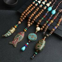 Nepal Buddhist Mala Beads Ethnic Long Statement Pendant Necklace Handmade Retro