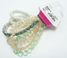 New 6 Piece Stretch Bracelet Set in Peach & Green Colors with Faux Pearls #B1177