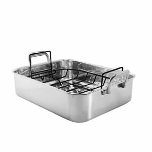 """Chantal Stainless Steel Roaster with Nonstick Roasting Rack, 15.5"""" x 12"""" x 4"""""""