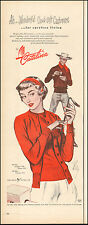1950 Vintage ad for Catalina Red Cashmere Sweater`Art Pretty Model  (101117)