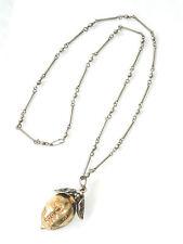 Antique ca.1800s Large Silver Plum Pendant Necklace Silver Vermeil France MK