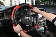 D Shape Car Steering Wheel Cover Carbon Fiber Pattern & PU Leather Car Cover x1