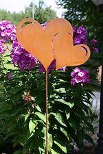 Edelrost Gartenstecker Herz Doppelherz Gartendeko Metall Rost