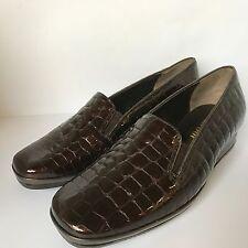 Ladies Van Dal Rochester XE Slip On Shoes Brown Patent Croc Leather EEE Width