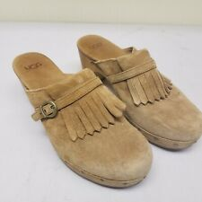 UGG Brown Leather Fringe High Heels Clogs Womens US Size 9 Shoes