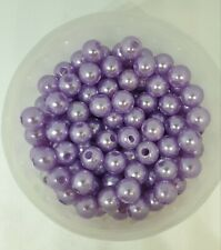 100 Imitation Pearl Beads Colourful  For Jewellery Making Crafts Bracelet 8mm