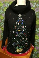 Vintage beaded Christmas Tree Knitted Christmas / Festive Ugly Jumper Sz M