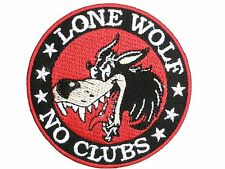 Lone Wolf No Clubs Iron Sew On Embroidered Biker Shirt Jacket Bag Badge Patch
