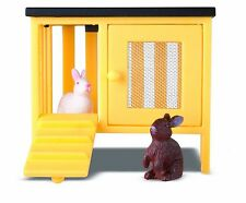 t4 Lundby Smaland Rabbit Hutch White Bunny Brown Bunny Scale Hutch Working Doors
