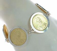 """Italian 1980 Lira Coin Set in Solid 925 Sterling Silver Bracelet 8"""" L '"""