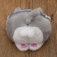 Cartoon Plush 3D Cat Neko Ass Coin Purse Zipper Mini Lovely Gray Wallet for Girl