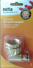 """Neta 12mm Click On 3/4"""" & 1/2"""" Swivel Tap Adaptor Solid Brass NL-04B"""