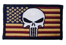 PUNISHER USA FLAG EMROIDERED MILITARY 3.0 INCH G1 HOOK PATCH