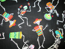 SKULLS DAY OF THE DEAD FIESTA MUSIC BLACK OVERALL COTTON FABRIC FQ