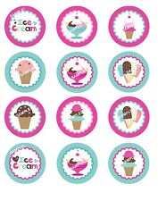 ICE CREAM PARTY Edible Cupcake Topper Image Frosting Sheet Cookie Stickers!
