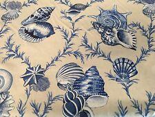 Thibaut Seashell Print Upholstery Fabric Sumba Shell Blue Natural 0.70 yd F95744