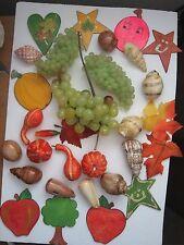 Centerpiece Arts Crafts Lot of Grapes Fruit Vegetable Shells Cutouts