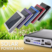 30000mAh Mobile Phone Solar Panel Charger Battery Dual USB External Power Bank