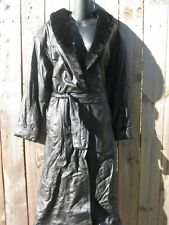 LEATHER LIMITED WORM LONG BLACK LEATHER BELTED COAT.SIZE L