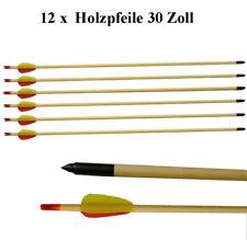 """12 Pfeile aus Holz 30"""" Zoll (ca.80cm) für Compound / Recurve Bogen - Bogensport"""