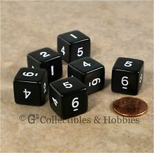NEW Set of 6 Black with White Numbers D6 Six Sided RPG D&D Game 16mm Dice Koplow