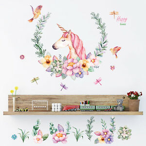 Removable Wall Stickers Girls Watercolour Unicorn Flowers Fairy Decals in TUBE