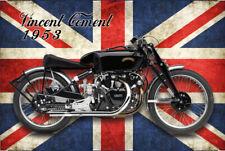 Blechschild 1953er Vincent Comet Motorrad mit britischer Flagge metal sign 20x30