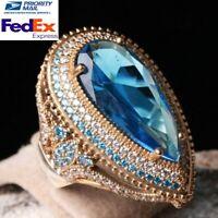 Turkish Handmade 925 Sterling Silver Aquamarine Stone Ladies Womans Ring Usa