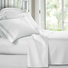 Luxurious Breathable Brushed Microfiber Bed Sheet Set - (Set of 4) Queen White