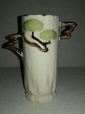 """1940s Roseville Pottery White Ming Tree Vase with Two Branch Handles 581-6-6"""""""