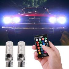 2Pcs T10 Colorful RGB LED Bulbs Car Parking Lights 168 194 w/RF Remote Control