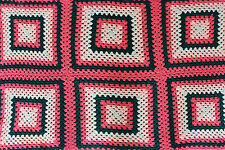 "Hand Made Crochet Granny Square Afghan Pink Green White Throw Blanket 34"" x 53"""