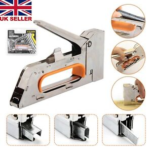 Metal Staple Gun Tacker 2500 Staples Heavy Duty 4/6/8mm Upholstery DIY Stapler