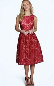 Boohoo boutique women's embroiderd organza skater dress uk 8 - 10 ladies party