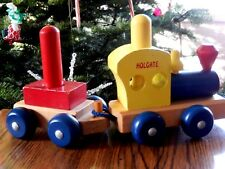 Vtg Wooden Toy Train Holgate Made in the Usa 4 Pieces