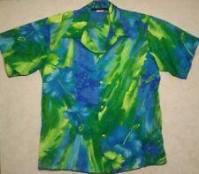 Size L VINTAGE 1970s Men's BIG COLLAR Hawaiian Shirt Blue Made in Hawaii