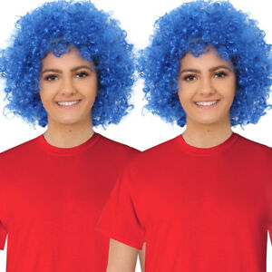 BLUE CURLY THING WIG ADULTS FANCY DRESS AFRO WORLD BOOK DAY WEEK CHARACTER