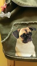 RARE/HTF NWT FUZZYNATION PUG BACK PACK OLIVE CANVAS BAG FUZZY NATION~GREAT GIFT!