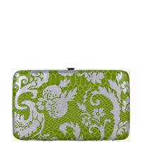 GREEN METALLIC FLORAL PRINT SNAKESKIN LOOK FLAT THICK WALLET FASHION CLASP NEW
