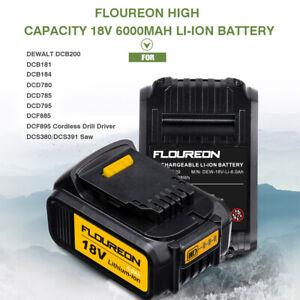 FLOUREON 18V 6000mAh Li-ion Battery For DEWALT DCB200 DCB184 DCD740 DCF895 Drill
