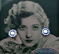 VINTAGE ART DECO VAUXHALL GLASS CLIP EARRINGS BEAUTIFUL BABY BLUE BRIDAL GIFT